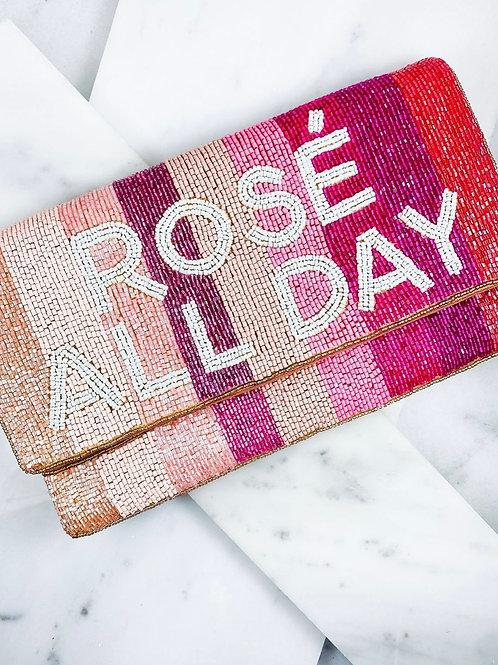 Rose All Day Beaded Fold Over Clutch