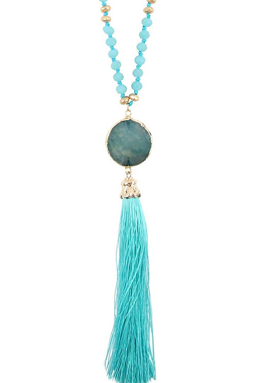Bead Stone Tassel Necklace