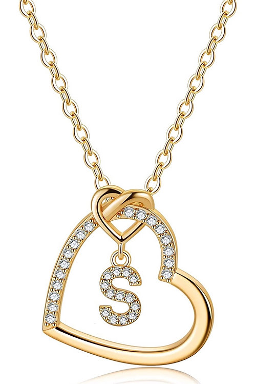 Molly Heart Initial Pendant Necklace