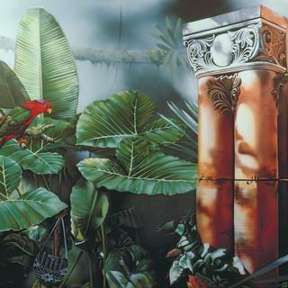 Orange Pillars with Red Parrots