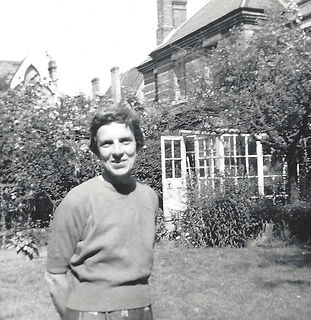 Janet in the garden of their Putney home