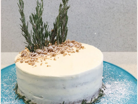 Chai Cake with Honey Rosemary Cream Cheese Frosting