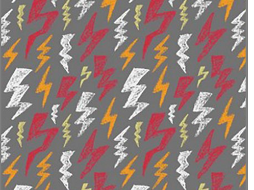 Glow in the Dark Scribble Lightning Bolt Cotton Jersey