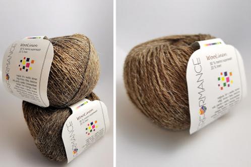 Woolinen  Merino superwash  80%wool 20% linen Brun  nr 219