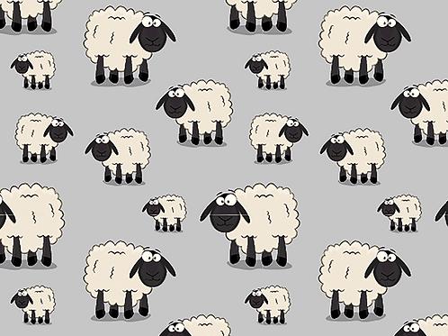 Cartoon Sheep  cottonJersey  - Grey