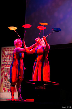 Lily and Toxi plate spinning show