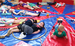 chilling on the circus mat