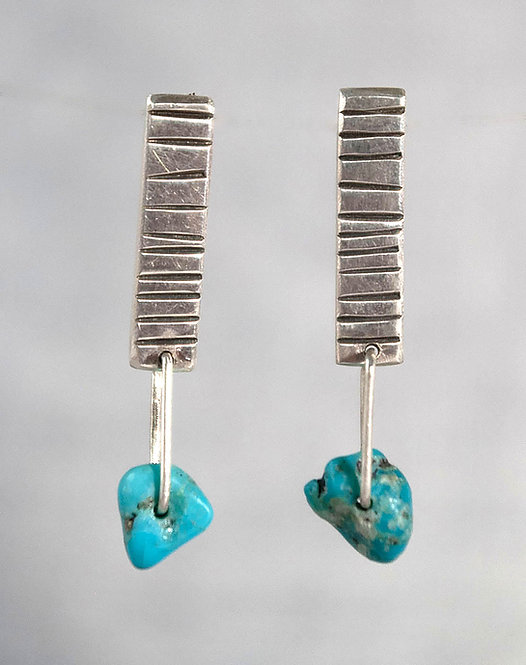 Textured Earrings with Turquoise