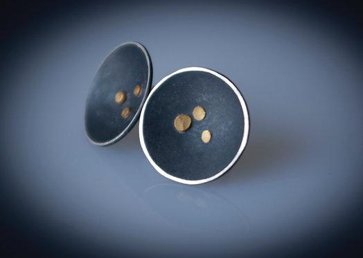 Fused Gold Disc  Stud Earrings