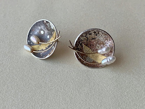 Sterling Disc Earrings with Pearls and Fused Gold
