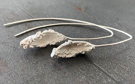 Nature Inspired Leaf Pod Earrings - Sterling