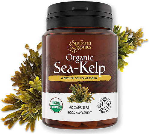 Certified Organic Iodine from 500mg Kelp Giving 385mcg Iodine per capsule 256% R