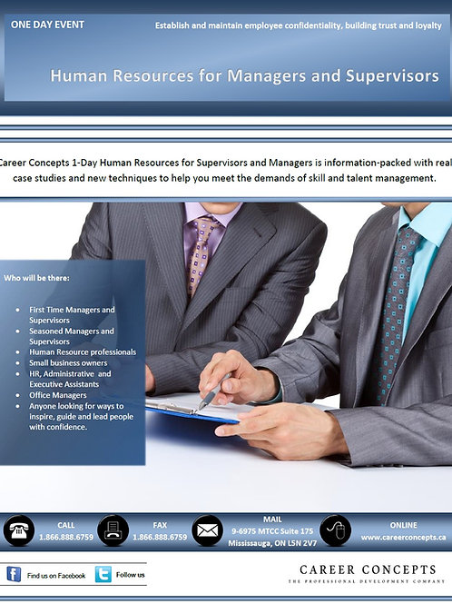 Human Resources For Managers and Supervisors