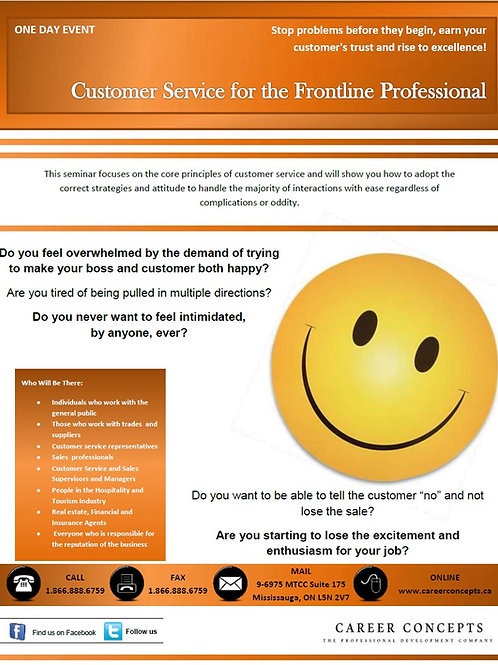 Customer Service for Front Line Professional