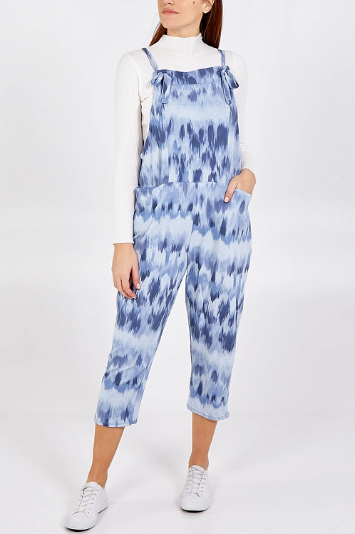 Brush patterned jersey dungarees 3/4 length - one size