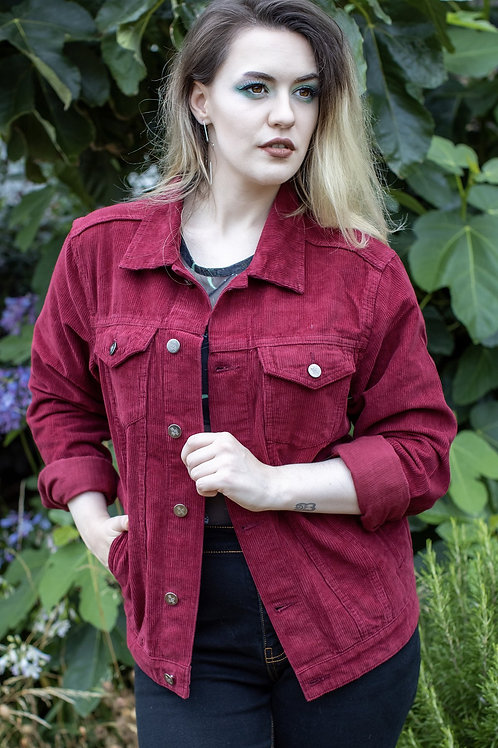 Retro cord Western style jacket - burgundy
