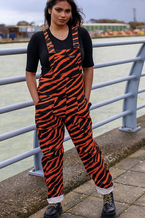 Orange Zebra Print Stretch Twill Dungarees