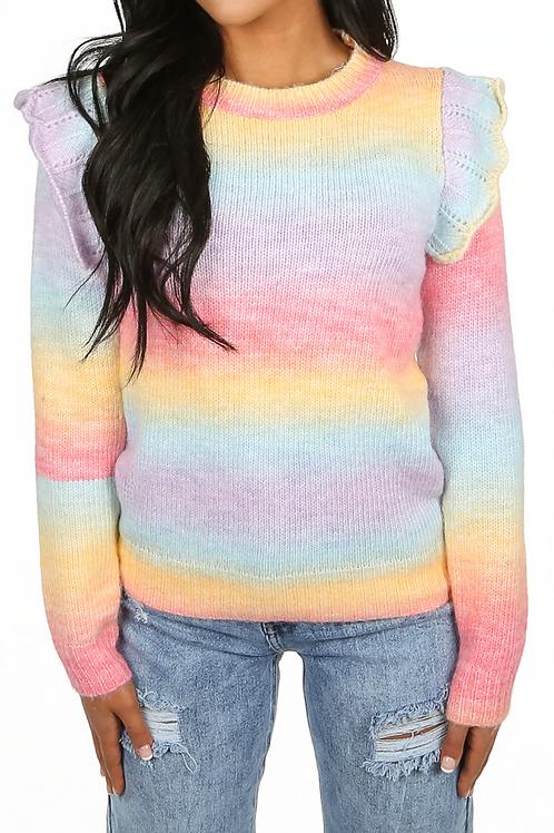 Rainbow frilled shoulder knit