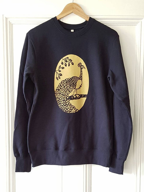 Peacock print organic cotton sweatshirt.