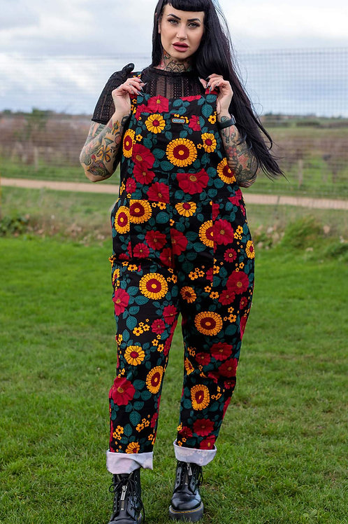 Retro Floral Stretch Twill Dungarees