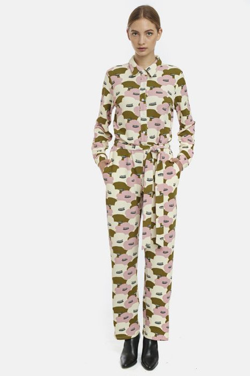 Large water-lily print jump suit