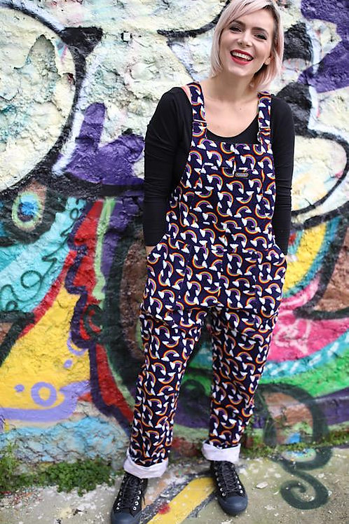 Over the rainbow corduroy dungarees by Run & Fly