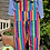 Thumbnail: Bright stripe rainbow twill dungarees by Run & Fly