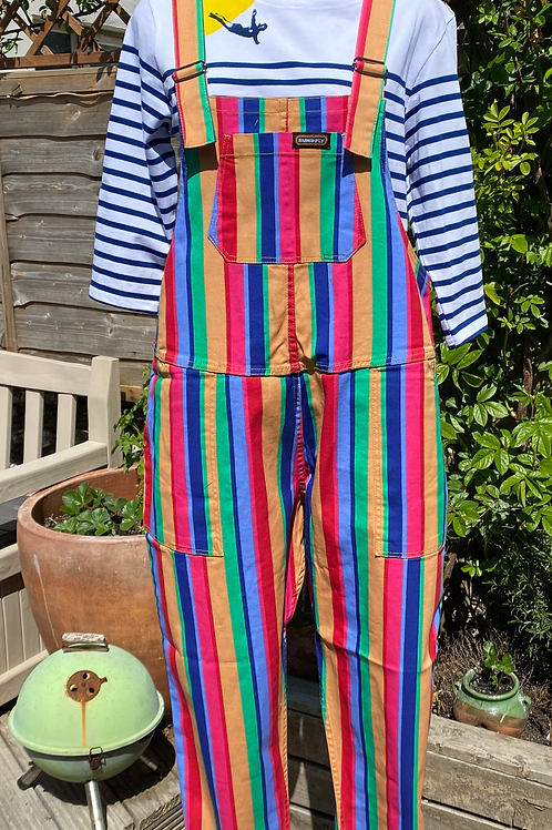 Bright stripe rainbow twill dungarees by Run & Fly