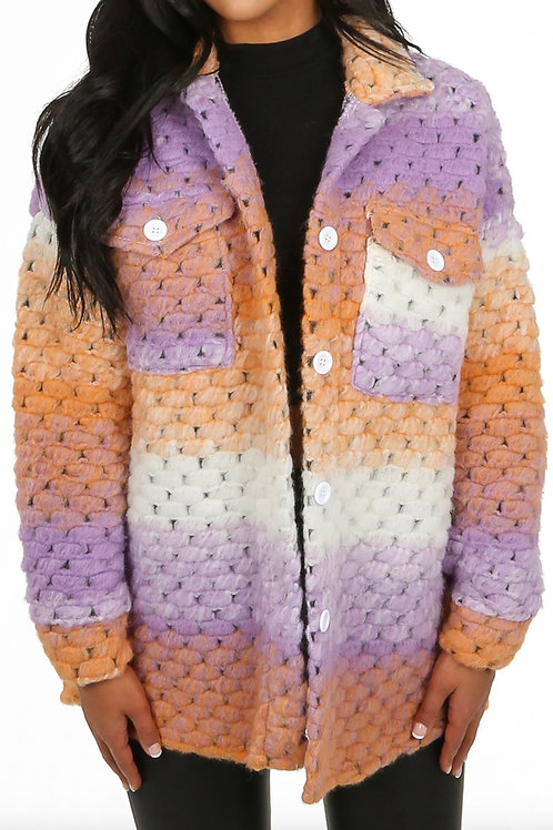 Crochet shacket - lilac/orange/cream