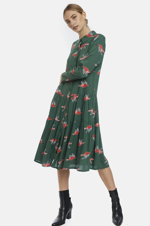 Green geese print midi shirt dress