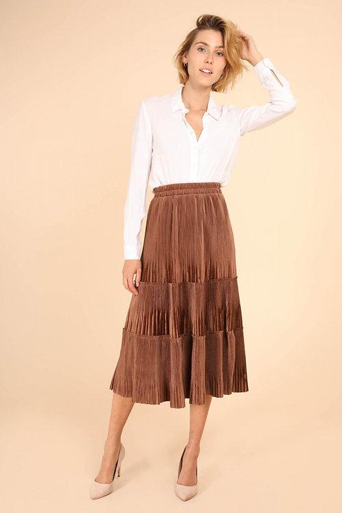 Brown midi pleated skirt
