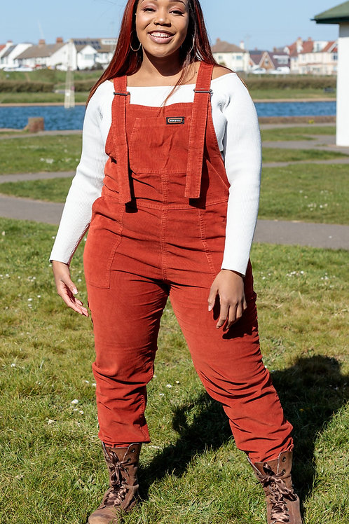 Rust Stretch Corduroy Oversized Baggy Dungarees