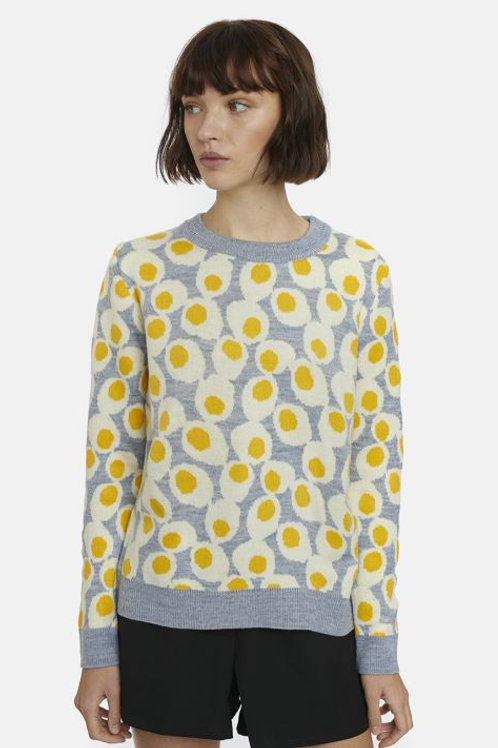 Grey jumper with boiled egg print