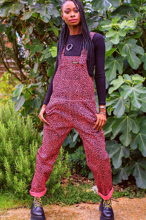 Leopard print twill dungarees - pink