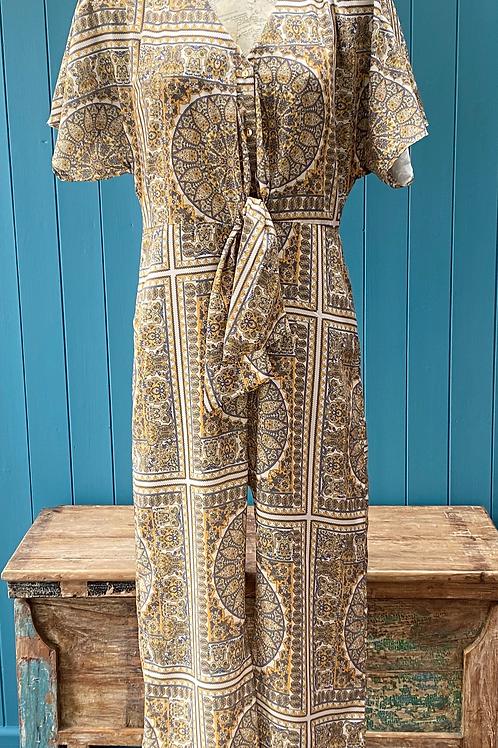 Scarf print tie front jumpsuit