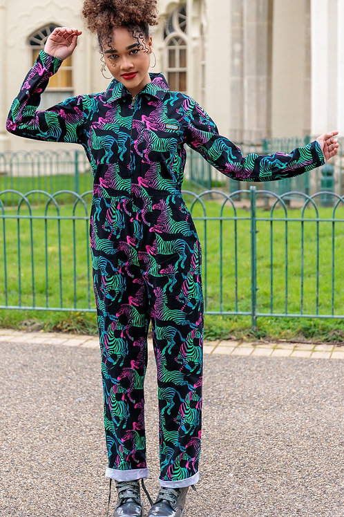 Rainbow zebra boiler suit in twill cotton