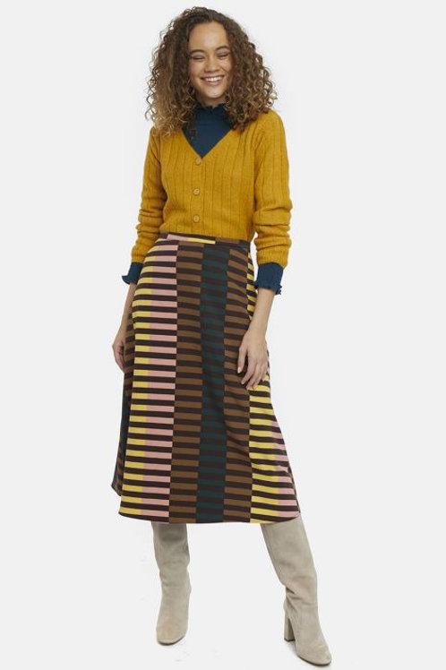 Retro striped flared midi skirt