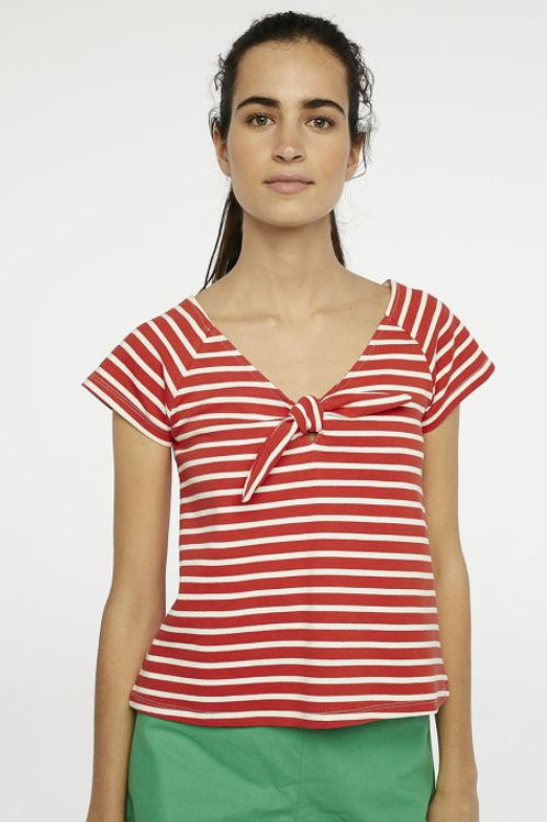 Red striped top with bow