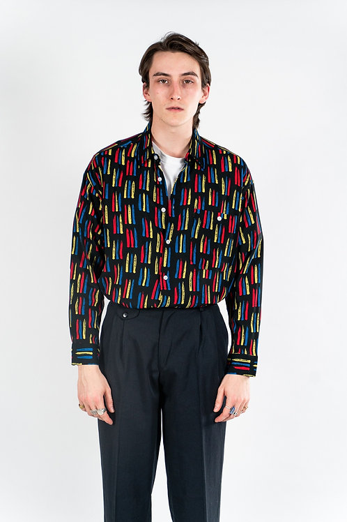 90'S long sleeved rayon shirt - Black/Yellow/Red