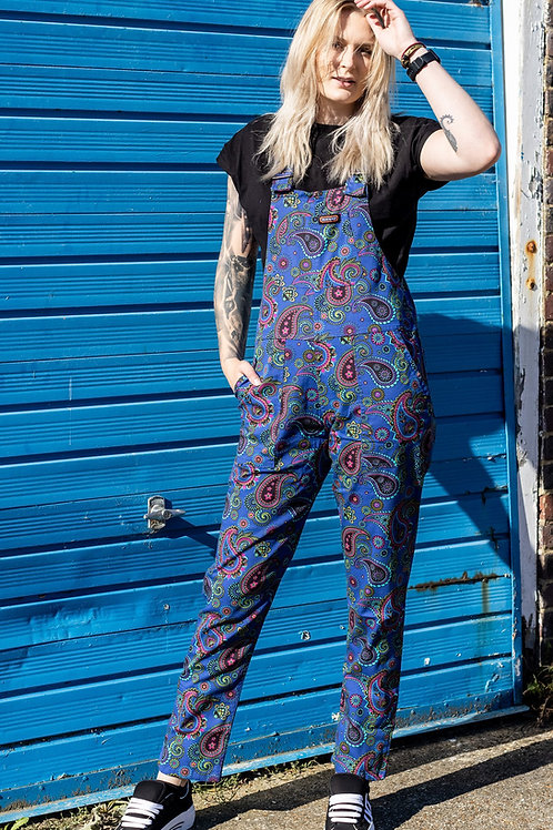 Paisley Stretch Twill Dungarees