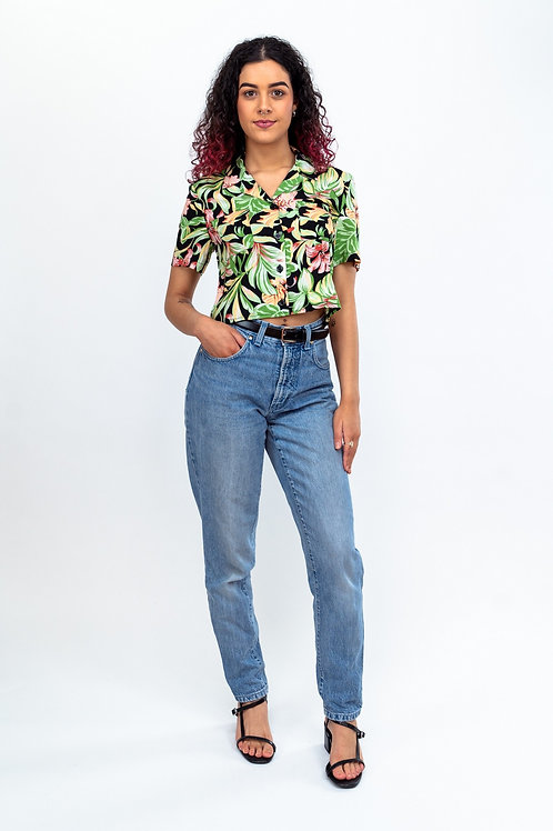 Cropped Blouse - Black Lilly