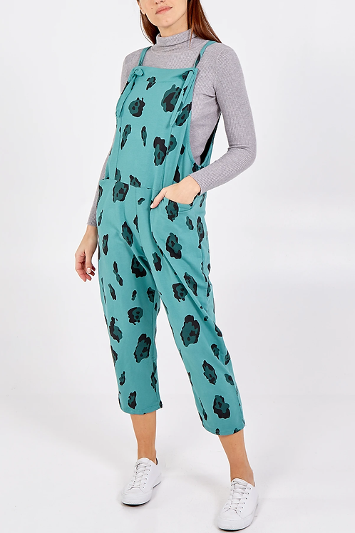 Cow print jersey dungarees 3/4 length - one size