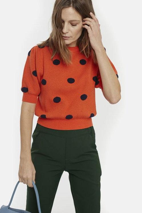 Orange polka dot knit