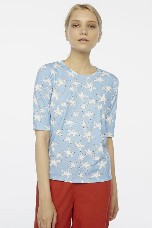 Blue starfish print t shirt