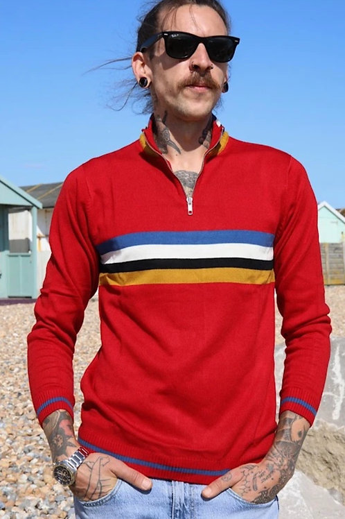 Red zip neck jumper by Run & Fly