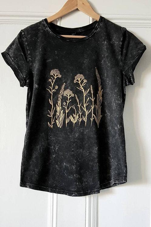 Wildflower print t shirt - stonewash black