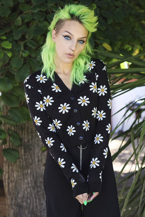 Daisy chain black cropped cardigan