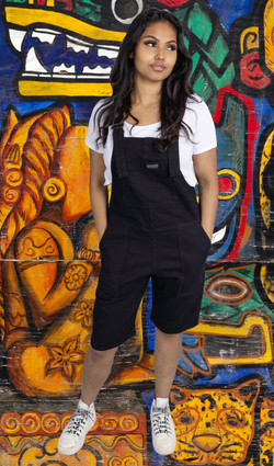 Black denim dungaree shorts