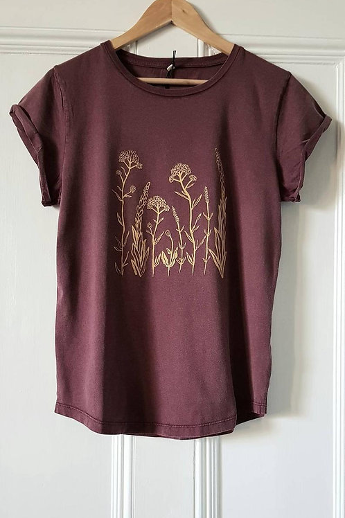 Wildflower print t shirt - wine