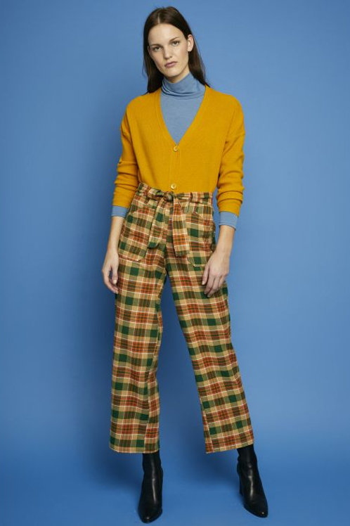 Green check flannel trousers